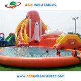 Faites glisser l'eau gonflable commerciale avec piscine pour le parc de l'eau