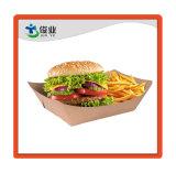 고전적인 브라운 처분할 수 있는 서류상 음식 서빙 쟁반 또는 Kraft 종이상자