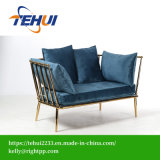 Casa moderna de acero inoxidable muebles de la base de Oro Loveseat tejido Conjunto sofá de terciopelo