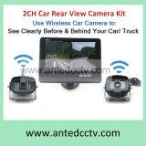 2つのチャネルのモニタが付いている無線手段の背面図のカメラ