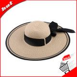 Chapéu flexível da grande palha larga da borda com fita