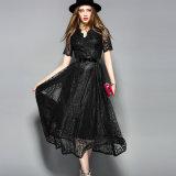 Schwarzer heißer Verkauf schnallte Spitze-Kleid für Frauen-Kleidung um
