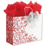 Invierno Whirl Shoppers Paño Bolsa de papel Bolsa de regalo Bolsa de compras de lujo Bolsa ambiental