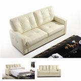 Wohnzimmer-Sofa mit dem modernen echtes Leder-Sofa eingestellt (732)