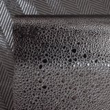 Couro gravado leopardo do plutônio do falso do preto escuro para calças do vestuário