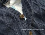 Chandail tissé stéréo d'enfants tricoté par configuration de cardigan