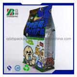 Sac en plastique carré d'aliment pour animaux familiers de fond plat avec la tirette