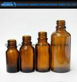 Botella vacía de cristal ambarina para la pipeta líquida de la gota de los petróleos esenciales