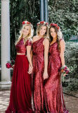 Vestido Chiffon PC2015 do baile de finalistas de Tulle dos vestidos formais da dama de honra dos Sequins do vinho