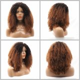 Kinky Dlme Brown curly Lace Front Syntheic perruque de cheveux
