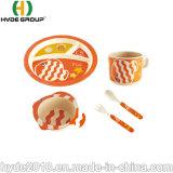 Gesundes Maisstärke-Qualitäts-Umhüllung-Nahrungsmittelorange Baby-gesetztes Bambusfaser-Essgeschirr-Set