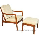 Simple en bois massif des jambes de retour d'aile Chaise longue avec pouf (ST0049)
