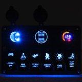 6 het Comité van de Schakelaar van de Tuimelschakelaar van de troep met de Digitale Adapter van de Lader van de Macht USB van de Contactdoos +Double van de Macht Voltmeter+12V