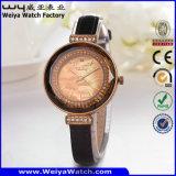 Reloj caliente de las señoras del cuarzo de la correa de cuero de la venta del ODM (Wy-101C)