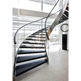 Arco de la escalera de madera de lujo escalera con barandilla de vidrio escalera Hotel