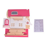 El juego de aparentar Dollhouse de madera rosa casa de muñecas con muebles para niños