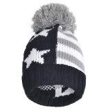 帽子の冬POM POMのアクリルのニットの帽子の縞の帽子