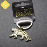 Buena calidad de enfriar el Tigre de bronce de latón chapado en oro Llavero con anillo