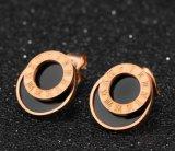 De klassieke Shell van de Oorringen van de Nagel van de Ronde en van de Cirkel van de Cijfers van de Luxe Roman Zwarte Dubbele Oorringen van Cirkels voor Marmer van de Giften van Minnaars het Beste