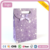 Bolsa de papel revestida del regalo del arte púrpura del modelo de la fresa