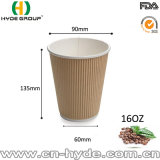 12oz taza rizado de color marrón con tapa/pared gruesa vaso de papel