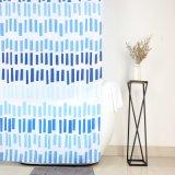 Listras azuis estilo contemporâneo de impressão cortinas de chuveiro de tecido de poliéster
