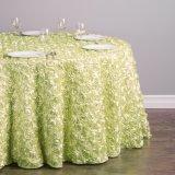 ロゼットのテーブルクロスの結婚披露宴表の装飾のテーブルクロス