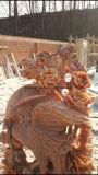 Levendig sneed de Hand het Levensgrote Rode Marmeren Standbeeld van de Vogel van Phoenix van de Steen Snijdende voor Tuin