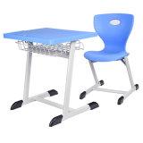 Muebles de escuela y escritorio y silla plásticos azules del estudiante