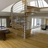 Festes Holz-gewundenes Innentreppenhaus mit Kohlenstoffstahl-Rod-Balustrade