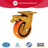 Schwenker industrielle PU-Rad-Hochleistungsfußrolle mit Bremse