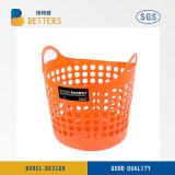 Servicio de lavandería de plástico redondo de plástico de cestos, canastas de lavandería con asas