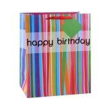 Listras verticais do aniversário que vestem o saco de papel do presente da lembrança do supermercado das sapatas
