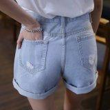 Court-circuit à laver cassée Lady Jeans avec tournant sur l'ouverture de la jambe (HDLJ0040-17)