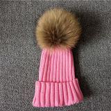 Kind-Winter-Kaninchen-PelzPOM POM Beanie-Hut-Wollen wärmen Schutzkappe und Hut