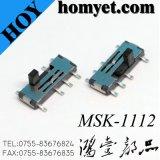 Interruptor deslizante de 3 posições, Micro desligado desligado, pequeno desligado desligado Interruptor deslizante