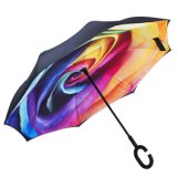 De zelf Omgekeerde Paraplu's van de Auto van de Bescherming van de Regen van de Tribune Omgekeerde met c-Gevormd Handvat
