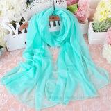 Écharpe de polyester de plage teinte par mousseline de soie mince d'été de mode (H07)