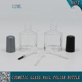 10ml botella de polaco de uñas de vidrio transparente personalizado con negro y tapa de cepillo de plata