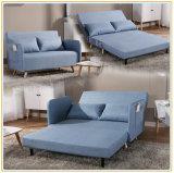Nuevo tejido de lino azul de diseño moderno sofá-cama