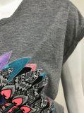 인쇄와 자수를 가진 여자를 위한 회색 혼합 t-셔츠