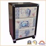 cabina del metal 3-Drawer y de madera con la impresión marina de la tela
