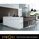 Wanut folheou o gabinete de cozinha moderno para Furniturer Home Tivo-0278h