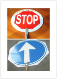 顧客用反射広がる円のアルミニウム道の危険信号ハイウェイの交通安全の印