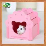 Hamster-hölzernes Haus-sicheres Versteck für kleine Tier-blaues rosafarbenes weißes Grün