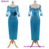 Шикарная мать Appliques бирюзы платья вечера длины пола втулок шнурка 3/4 платья невесты длиннего официально