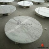 White Volakas Marble Round Stone Table Top para Casas, Hotel