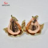 Figura della pera che placca gli agitatori di pepe e di sale di ceramica