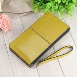 Mulheres Fashion Leather Zipper Embreagem Wallet Feminino Candy Color Burglar Robbed Purse Lady Multi-Function Phone Bag (BDMC037)
