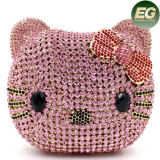 Moda Crystalstone Evening Bag Gato Face Ladies Clutch Bags Bolsa Leb737